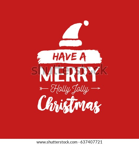 Merveilleux Merry Christmas Santa Hat Text Quote, Calligraphy Lettering Design For  Holiday Season. Creative Red