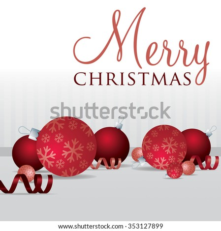 Merry Christmas scatter bauble card in vector format. - stock vector