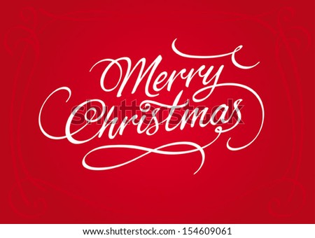 Merry Christmas script calligraphic type lettering with swirls and embellishments, ideal for Xmas cards, holidays ecard, vector illustration on red background, fully adjustable and scalable. - stock vector