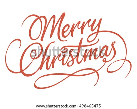 Merry Christmas script calligraphic type lettering with swirls and embellishments, ideal for Xmas cards, Holidays, vector illustration on white background, fully adjustable and scalable.