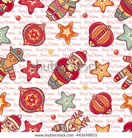 Merry Christmas. Seamless pattern. Abstract background. Holiday ornament. Season decoration. New year template. Festive texture. Winter decorate. Best for greeting card invitation. Vector image. - stock vector
