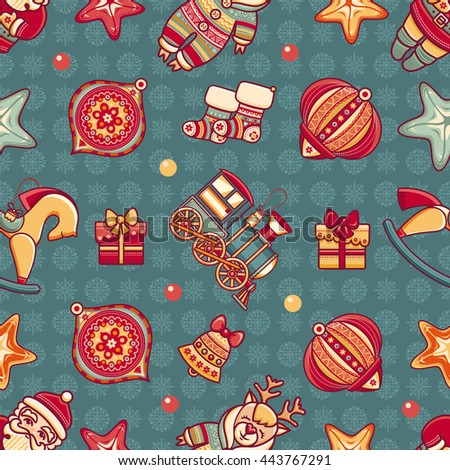 Merry Christmas. Seamless pattern. Abstract background. Holiday ornament. Season decoration. New year template. Festive texture. Winter decorate toy. Best for greeting card invitation. Vector image. - stock vector