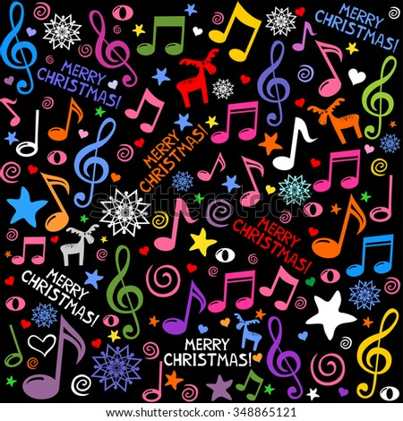 Merry Christmas. Seamless pattern wallpaper of musical notes, deer, snowflake, stars. Vector Illustration