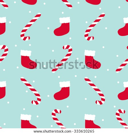 Merry Christmas Seamless Pattern with Candy Canes, Santa's Socks and Snowflakes - stock vector