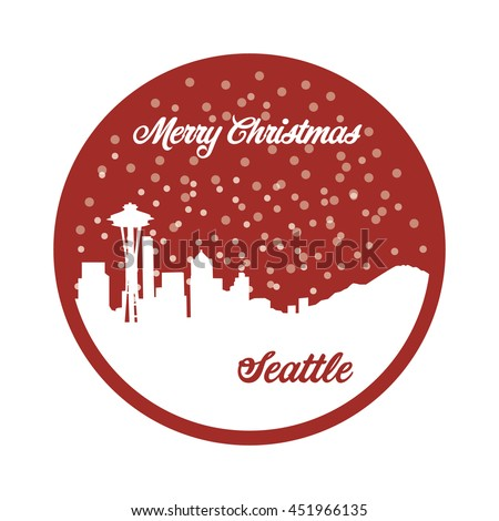Merry Christmas Seattle, red background, snow, Seattle skyline, vector - stock vector