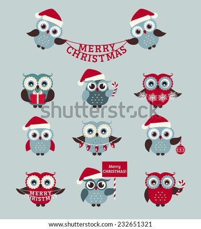 Merry Christmas! Set of cute owls for holiday design. Vector icons isolated on pale blue background. - stock vector