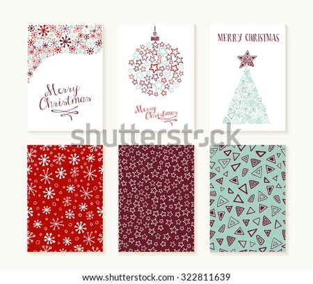 Merry christmas set of seamless patterns with outlined xmas decoration shapes and text templates. Ideal for holiday greeting cards, print, or wrapping paper. EPS10 vector file. - stock vector