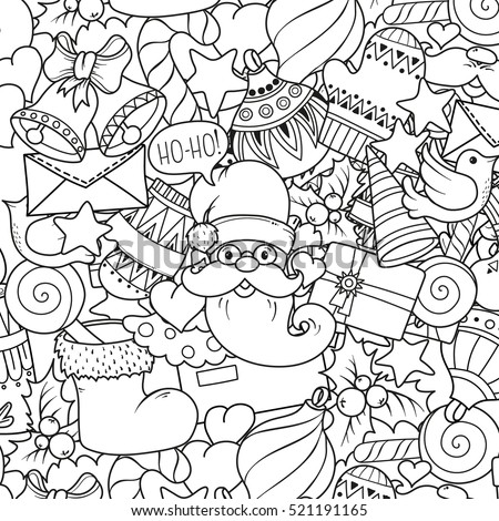 Christmas Theme Doodle Mandala Balloons Bells Stock Vector Merry Text Coloring Pages