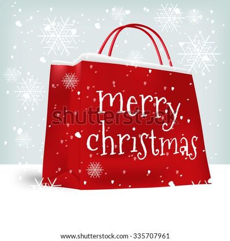 Merry Christmas shopping bag. Sale, christmas, x-mas and holidays concept - stock vector