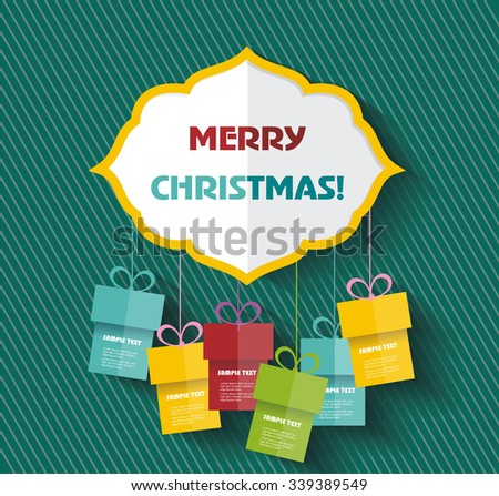 Merry Christmas sign with gifts. Vector Illustration. - stock vector