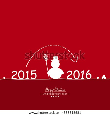 Merry Christmas - Simple Red Vector Greeting and Christmas Card Template with Shapes - Handwritten Greeting Text - Seasonal New Years Eve Background - XMas, X-Mas. Snowman and Year Dates - 2015 - 2016 - stock vector