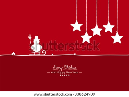 Merry Christmas - Simple Red Vector Greeting and Christmas Card Template with Shapes - Handwritten Greeting Text - Seasonal New Years Eve Background - XMas, X-Mas. Snowman, Sled and Starlet Symbols - stock vector