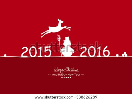 Merry Christmas - Simple Red Vector Greeting and Christmas Card Template with Shapes - Handwritten Greeting Text - Seasonal New Years Eve Background - Snowman, Fawn and Year Dates Symbol - 2015 - 2016 - stock vector