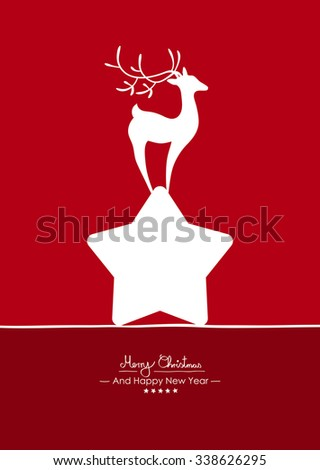 Merry Christmas - Simple Red Vector Greeting and Christmas Card Template with Shapes - Handwritten Greeting Text - Seasonal New Years Eve Background - XMas, X-Mas. Abstract Fawn on White Star - Deer - stock vector