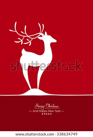 Merry Christmas - Simple Red Vector Greeting and Christmas Card Template with Shapes - Handwritten Greeting Text - Seasonal New Years Eve Background - XMas. Abstract Deer Symbol on Little Snow Heap - stock vector