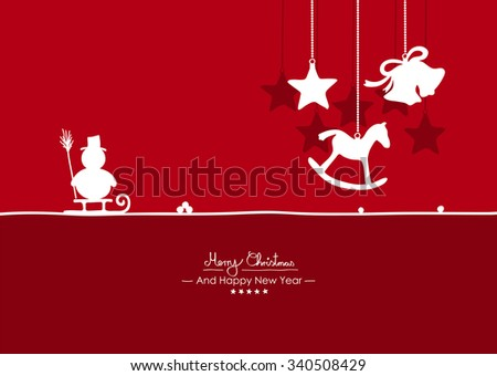 Merry Christmas - Simple Red Vector Greeting and Christmas Card Template with Shapes - Handwritten Greeting Text - Seasonal New Years Eve Background - X-Mas. Snowman, Rocking Horse and Bell Symbols - stock vector