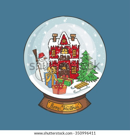 Merry Christmas snow globe .Doodle small house and fir tree,snowman,gifts  under the snow. Hand drawing New Year present. Vintage simple vector,new year glass ball - stock vector