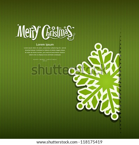 Merry Christmas Snowflakes paper green background, vector illustration - stock vector