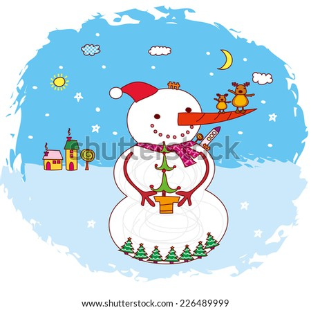 merry christmas. snowman. christmas tree. - stock vector