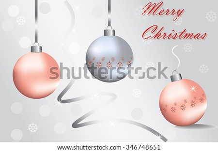 Merry Christmas Sparkling baubles with snowflake ornament in silver and red colors. Vector - stock vector