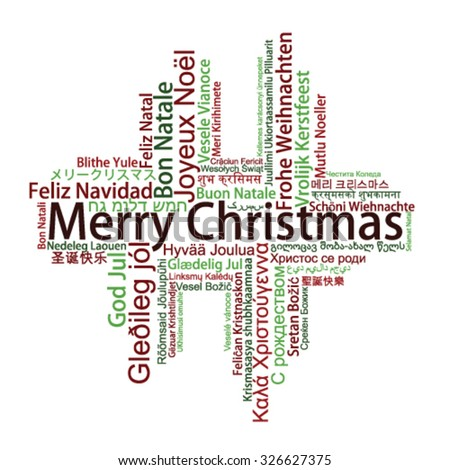 Merry Christmas Tag Cloud in different languages, vector - stock vector