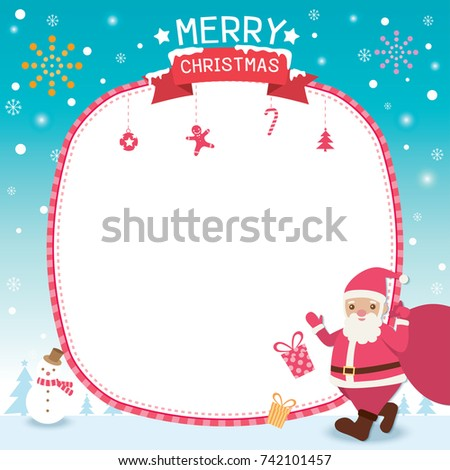 merry christmas template card design with santa claus carry a gift bag on shoulder in snow