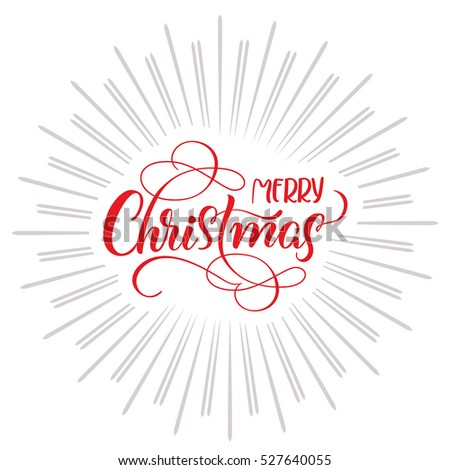 Merry Christmas text and abstract background with rays. Calligraphy lettering