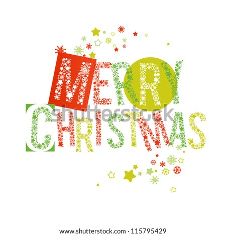 Merry Christmas text in red and green, letters made of snowflakes vector - stock vector