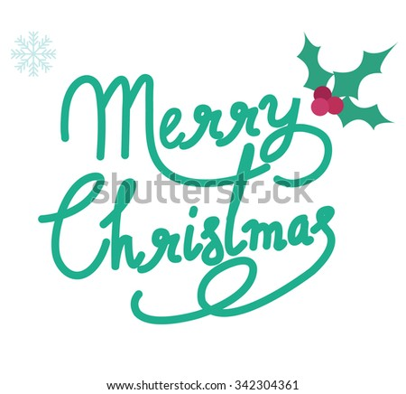 merry christmas text vector design - stock vector