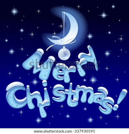 Merry Christmas text with ice letters on the night starry background with moon. Greeting Christmas card and Xmas poster. Vector illustration - stock vector