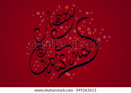 merry Christmas, the handwritten inscription on red background with circles and stars. - stock vector