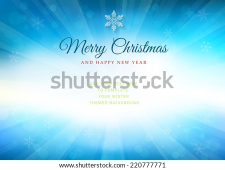 Merry Christmas time background with text - illustration. Vector illustration of a glowing Merry Christmas time background. - stock vector