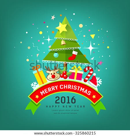 Merry Christmas Tree and happy new year design colorful background, vector illustration - stock vector