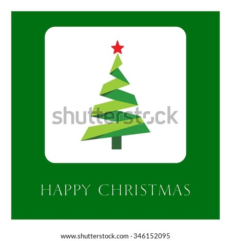 Merry christmas tree Card, Vector illustration minimal flat design - stock vector