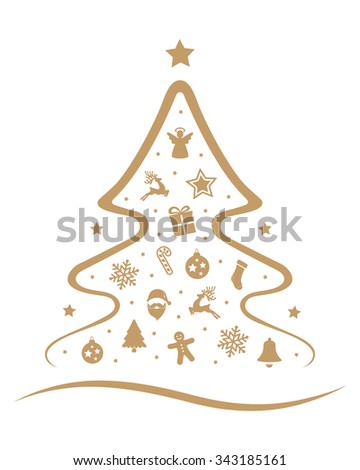merry christmas tree decoration elements isolated background - stock vector