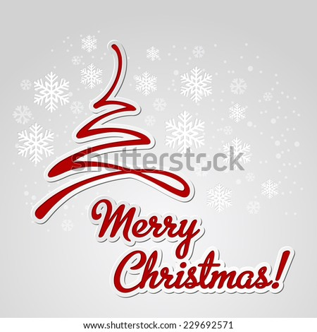 Merry Christmas tree greeting card. Paper design. Vector illustration. - stock vector