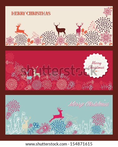 Merry Christmas tree shape with reindeers and winter elements composition. EPS10 vector file organized in layers for easy editing. - stock vector