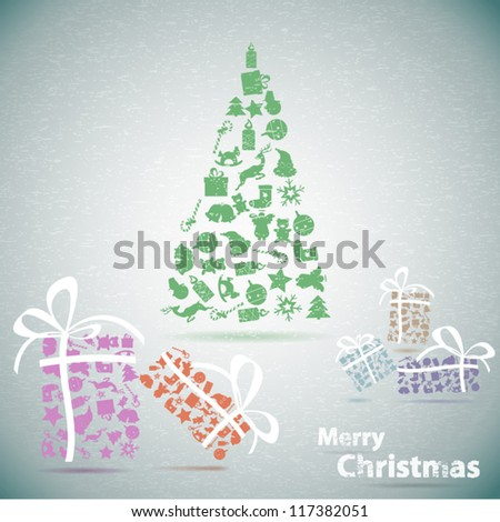 Merry Christmas tree with gifts in snow vector illustration