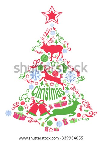 Merry christmas tree with Xmas elements - stock vector