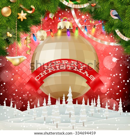 Merry Christmas trendy circle bauble composition. EPS 10 vector file included - stock vector