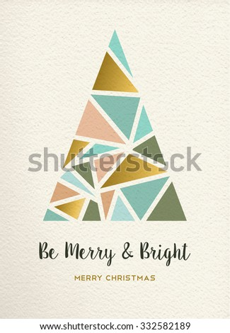 Merry christmas triangle pine tree design in retro geometry style with gold and pastel color on texture background. Ideal for xmas greeting card or holiday event. EPS10 vector. - stock vector