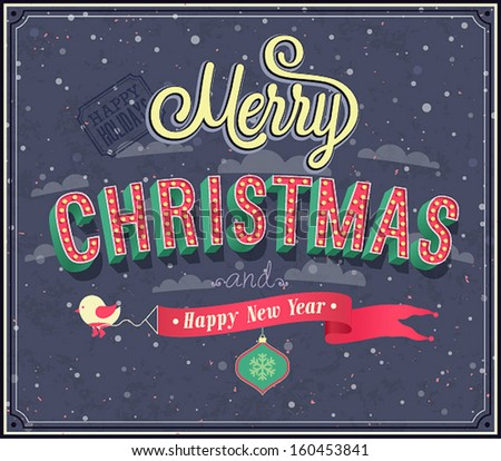 Merry Christmas typographic design. Vector illustration. - stock vector