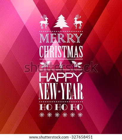 Merry christmas typography poster with christmas tree  - stock vector