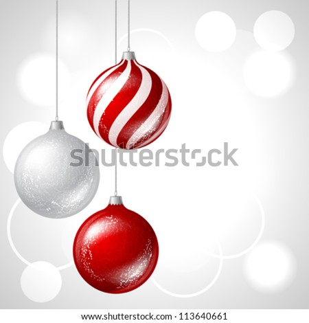 Merry Christmas vector background with glossy balls. - stock vector