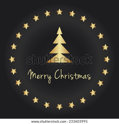 Merry Christmas vector card with gold elements - stock vector
