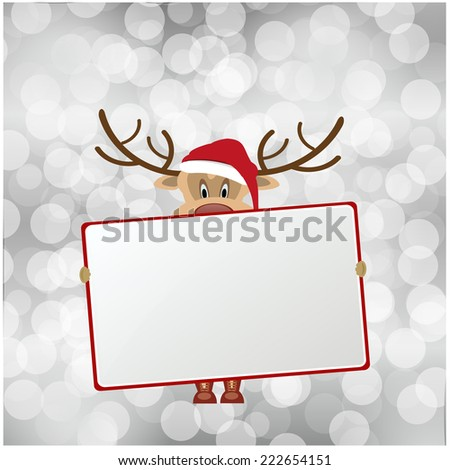 merry christmas vector eps10 in red and gray / christmas bokeh card design / cute santa reindeer cartoon hold a red sign - stock vector