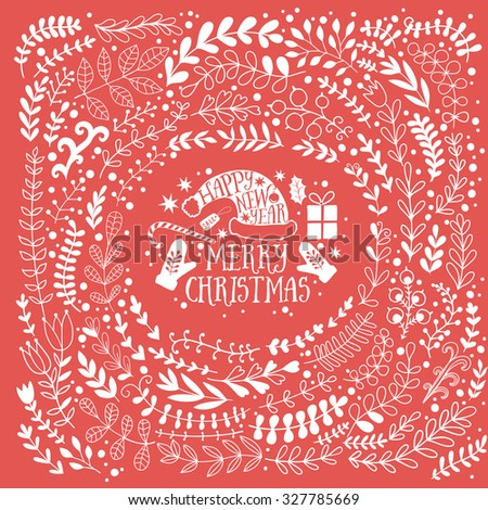 Merry Christmas vector greetings illustration- red and white. Colorful leaf design, Happy new year card frame wreath - stock vector
