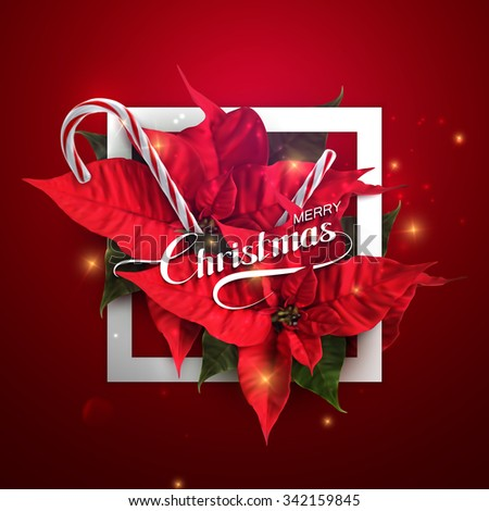 Merry Christmas. Vector Holiday Illustration With Lettering Label, Christmas Candy Cane, Sparkles And Poinsettia Flowers - stock vector