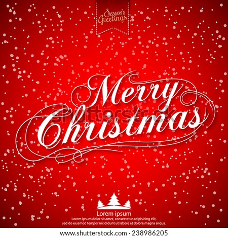 Merry Christmas vector illustration for holiday design, party poster, greeting card, banner or invitation. - stock vector