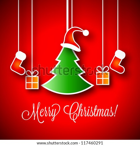 Merry Christmas Vector Illustration | Green Xmas Tree | Little Gift Boxes | Red Santa Claus Red Hat | Red Stocking - stock vector